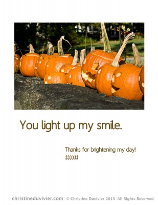 "Photo of jack-o-lanterns and ""You Light Up My Smile"""
